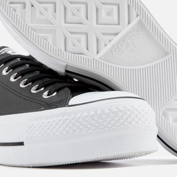 b89f87ad2d28f3 Converse Women s Chuck Taylor All Star Lift Clean Ox Leather Trainers -  Black White