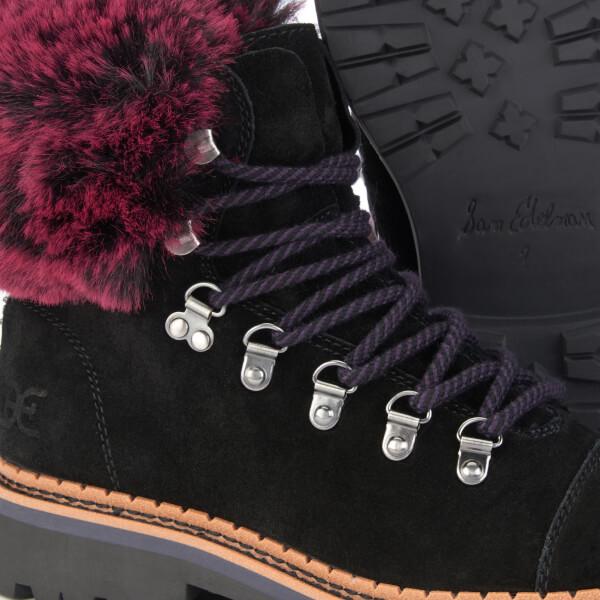 7db960cc9 Sam Edelman Women s Bowen Velutto Suede Hiker Style Boots - Black Raspberry  Wine  Image
