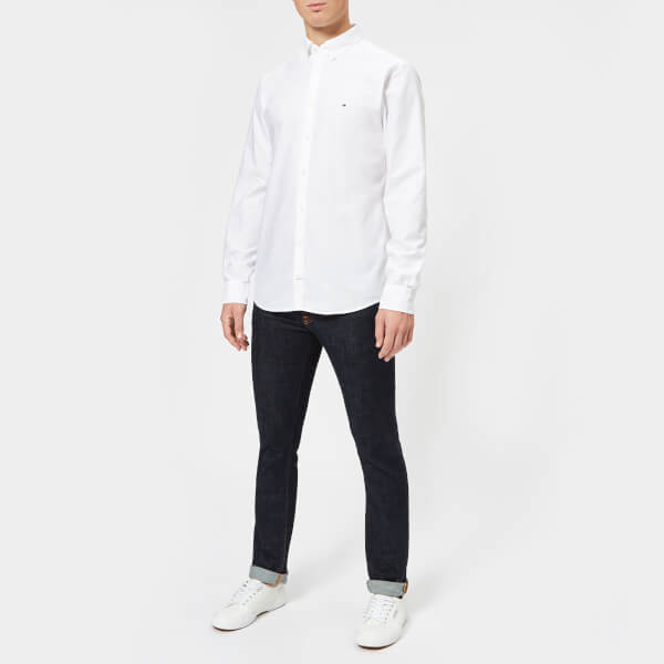 f716cfda8047d0 Tommy Hilfiger Men s Engineered Oxford Long Sleeve Shirt - Bright White   Image 3