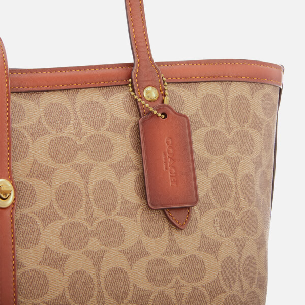 c70b14f938e Coach Women's Coated Canvas Signature Market Tote Bag - Tan Rust: Image 4