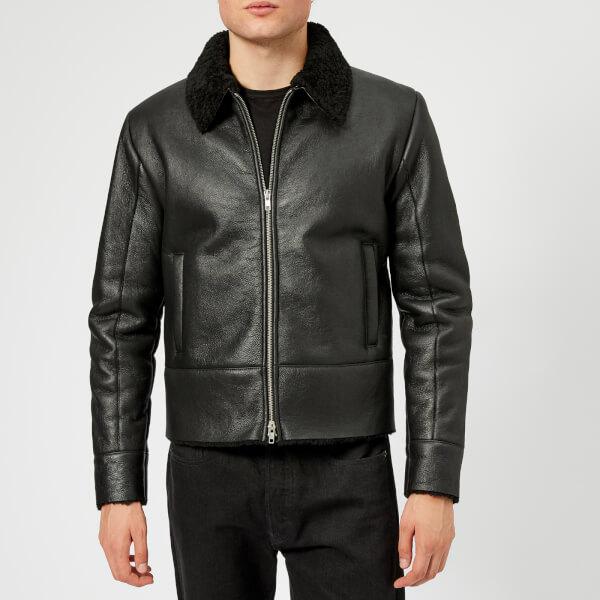 McQ Alexander McQueen Men s Shearling Biker Jacket - Darkest Black  Image 1 eb720cca70b