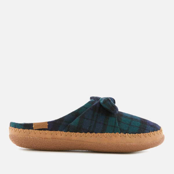 TOMS Women's Plaid Felt Bow Slippers - Spruce