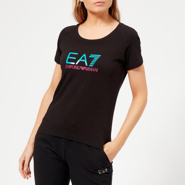 Emporio Armani EA7 Women's Train Logo Series Shiny Print T-Shirt - Black