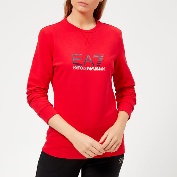 Emporio Armani EA7 Women's Train Logo Series Sweatshirt with Shiny Print - Red