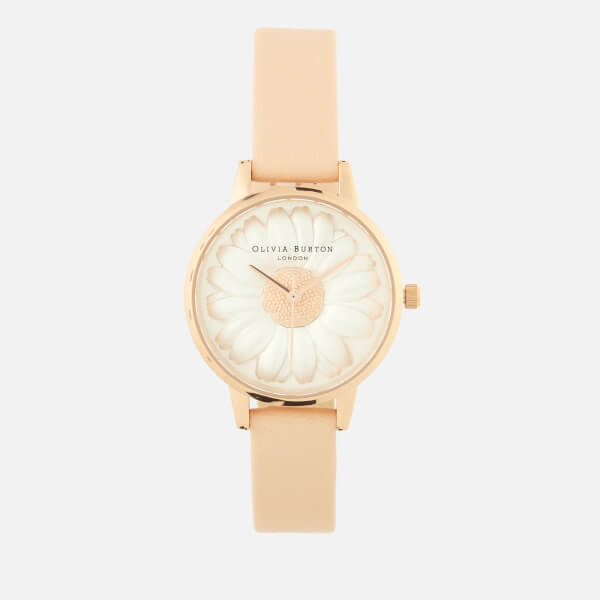 Olivia Burton Women's 3D Daisy Watch Gift Set - Rose Gold Bracelet/Nude Peach