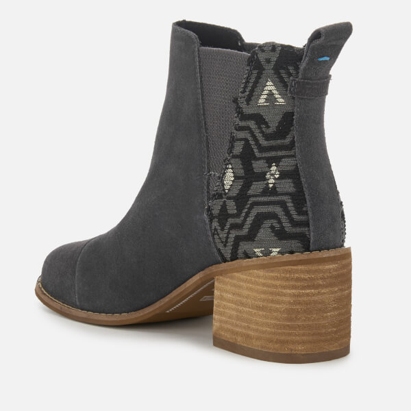 7650fe20618 TOMS Women s Esme Suede Metallic Jacquard Heeled Chelsea Boots - Forged  Iron  Image 2
