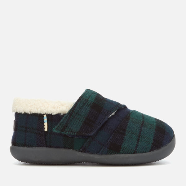 TOMS Toddlers' Plaid Felt Slippers - Spruce