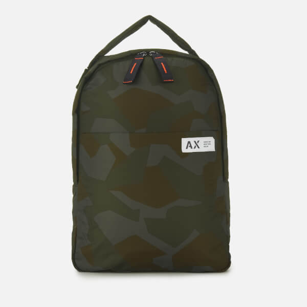 Armani Exchange Men's Padded Nylon Backpack - Green Camo