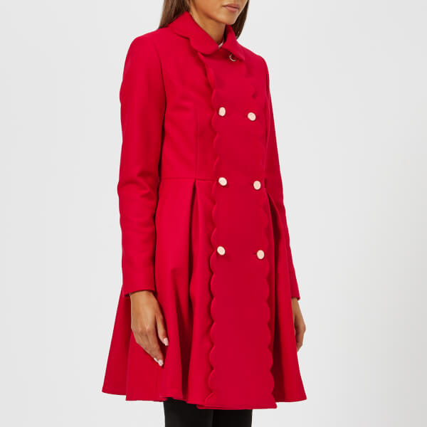 Ted Baker Women S Blarnch Scallop Trim Wool Coat Mid Red