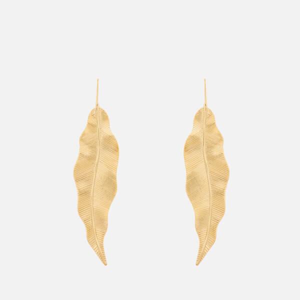 Whistles Women's Large Leaf Earrings - Gold
