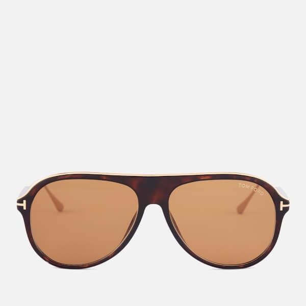 68e4edfc7bfa2 Tom Ford Men s Nicholai Aviator Sunglasses - Dark Havana Brown  Image 1