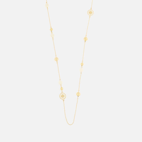 Tory Burch Women's Raised Logo Rosary Necklace - New Ivory/Tory Gold