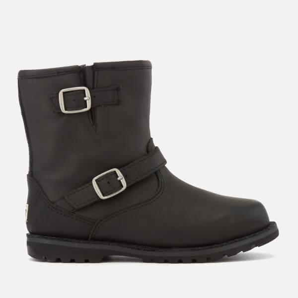 UGG Kid's Harwell Water Resistant Leather Biker Boots - Black