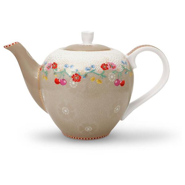 Pip Studio Small Cherry Tea Pot - Khaki