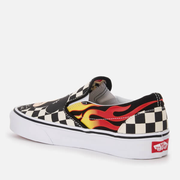 Vans Women s Disney Mickey   Minnie Classic Slip-On Trainers - Checker Flame   Image 93d8c6b79