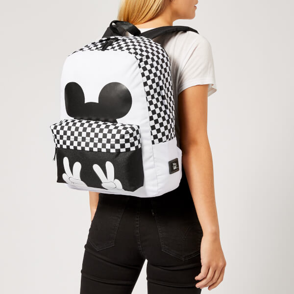 a7759827648 Vans Women s Checkerboard Mickey Realm Backpack - White Black Womens ...