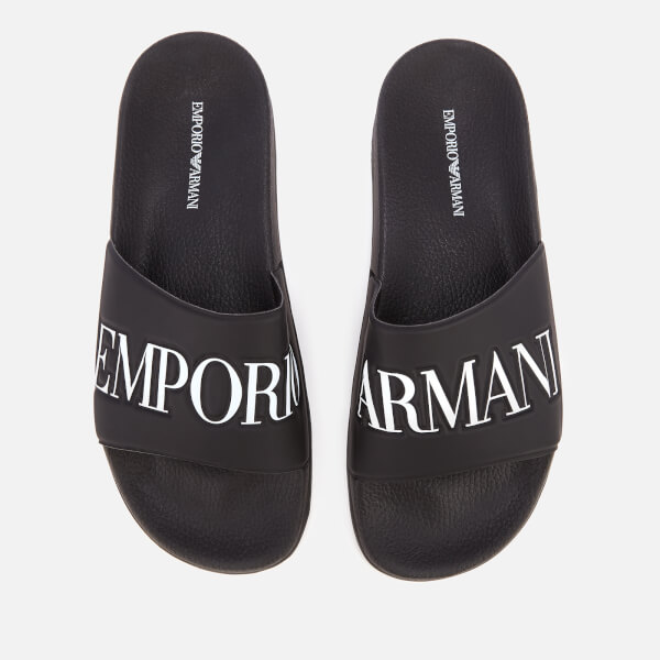 5532a0bee Emporio Armani Men s Zadar Slide Sandals - Black White  Image 1