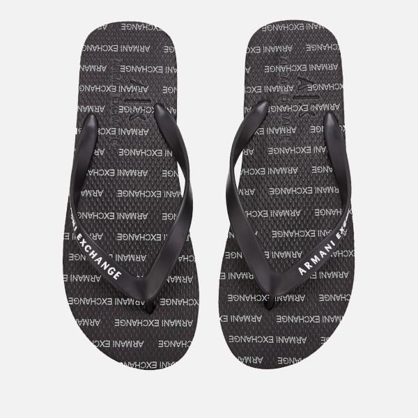 5682c6992 Armani Exchange Men s Printed Flip Flops - Black  Image 1