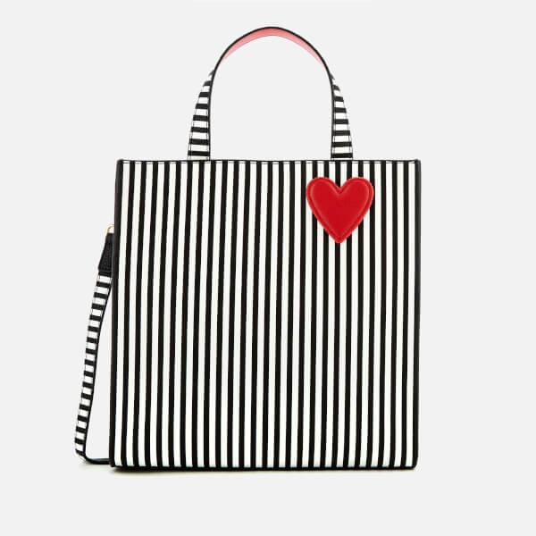 Lulu Guinness Women's Stripe Hearts and Lips Davina Tote Bag - Black/Chalk
