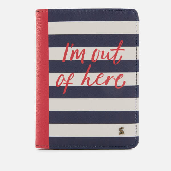 Joules Women's Jet Setter Passport Holder - Navy Stripe Text
