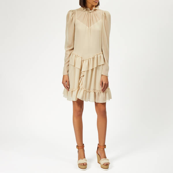 See By Chloé Women's Textured Frill Dress - Foggy Ivory