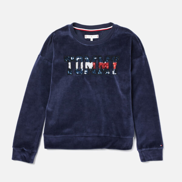 Tommy Hilfiger Girls' Sequin Velour Logo Sweatshirt - Black Iris