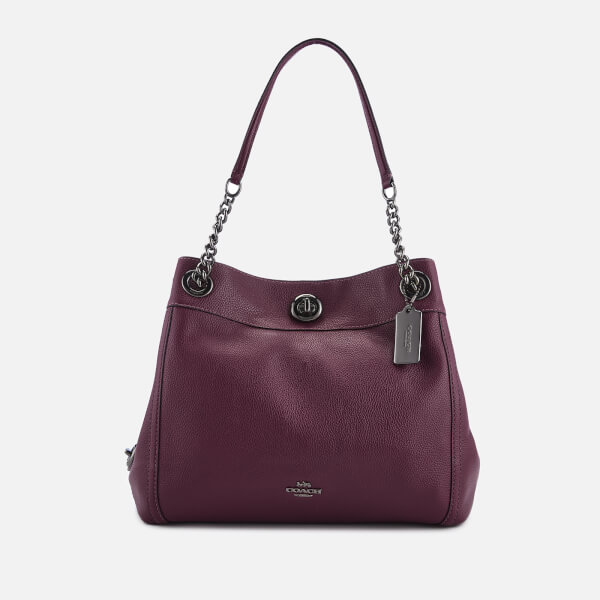 Coach Women's Polished Pebble Leather Turnlock Edie Shoulder Bag - Dark Berry