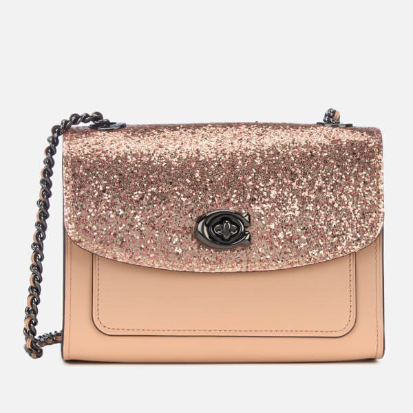 Coach Women's Glitter Blocked Parker 18 Shoulder Bag - Nude Pink