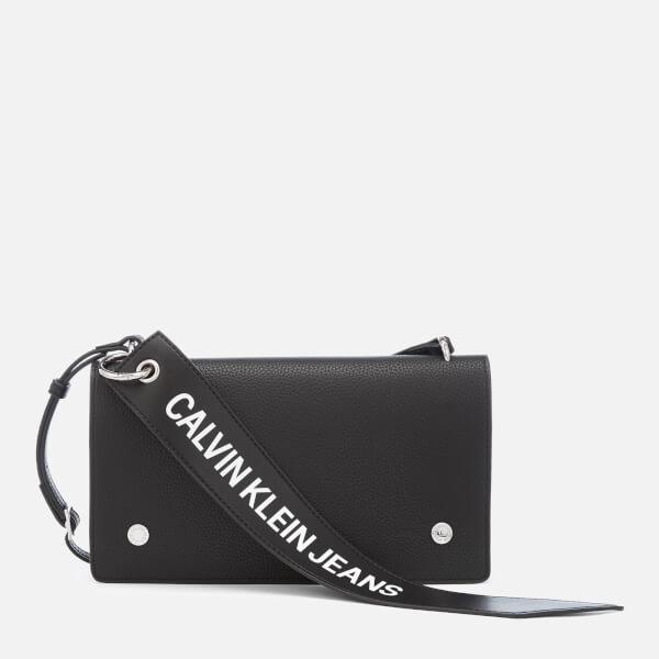 0e7a101852 Calvin Klein Women's Logo Banner Cross Body Flap Bag - Black: Image 1