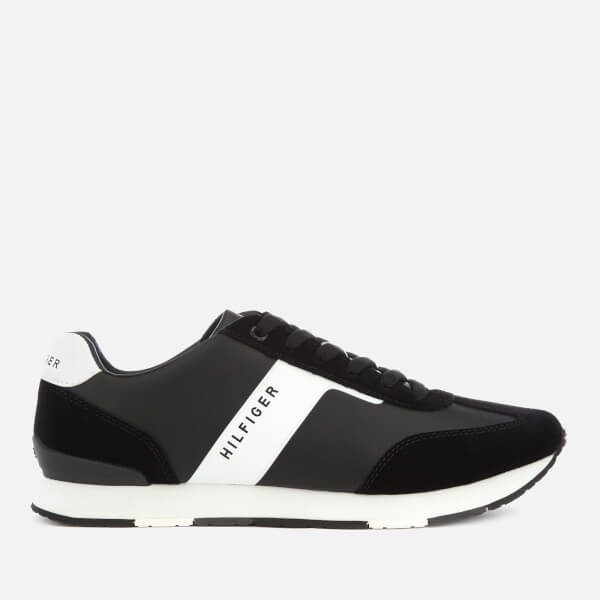 Tommy Hilfiger Men's Leather Material Mix Runner Trainers - Black