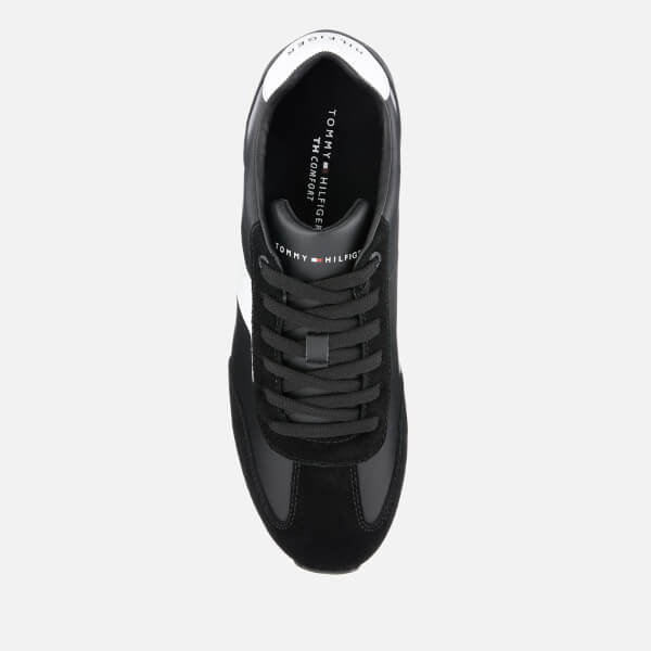 0158ce64b Tommy Hilfiger Men s Leather Material Mix Runner Trainers - Black  Image 3