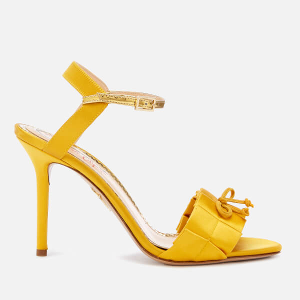 Charlotte Olympia Women's Satin High Sandals - Yellow/Gold