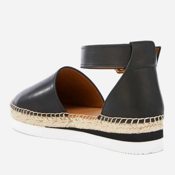 feb519f1167 See By Chloé Women s Glyn Leather Espadrille Flat Sandals - Black  Image 3