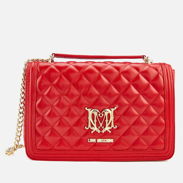 Love Moschino Women s Quilted Shoulder Bag - Red  Image 1 21f7b27334