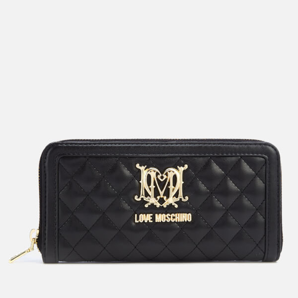 Love Moschino Women's Large Zip Around Quilted Wallet - Black