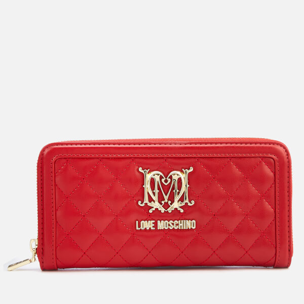 Love Moschino Women's Large Zip Around Quilted Wallet - Red