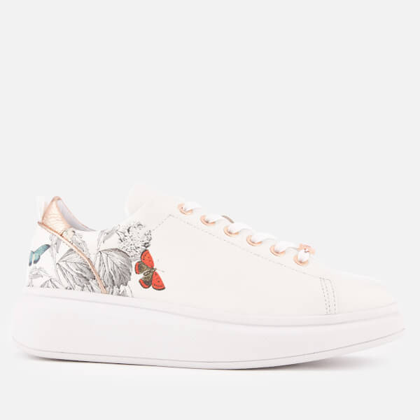 Ted Baker Women's Ailbe 3 Leather Flatform Trainers - White Narnia