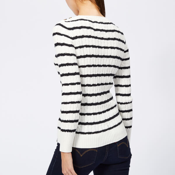 Superdry Women s Croyde Bay Cable Knit Jumper - Cream Navy Stripe  Image 2 550e05747