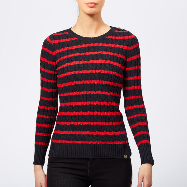 efea59f188ee Superdry Women s Croyde Bay Cable Knit Jumper - Navy Red Stripe ...