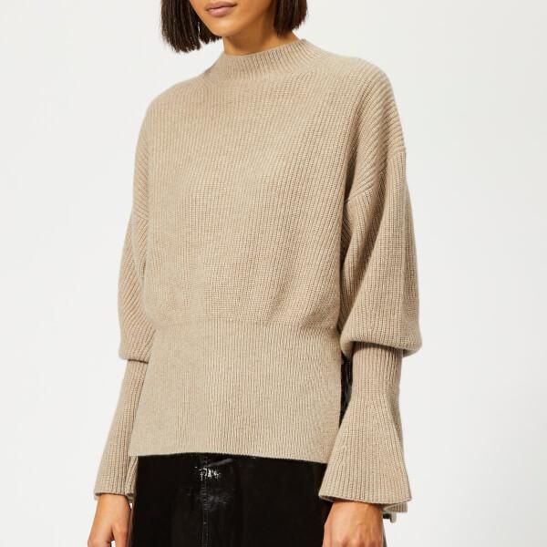 Alexander Wang Women's Mock Neck Pullover with Rib Sleeve - Oatmeal Melange