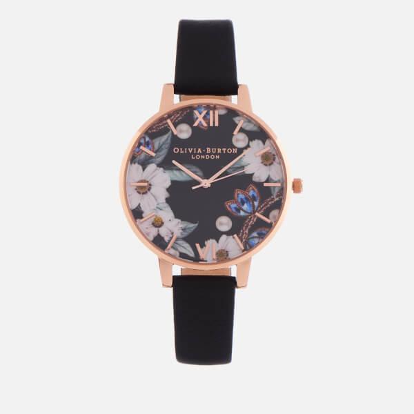 Olivia Burton Women's Bejewelled Florals Watch - Black & Rose Gold