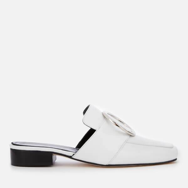 Dorateymur Women's Petrol Leather Slide Loafers - White