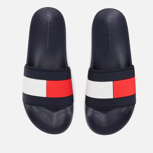 dadff381a Tommy Hilfiger Men s Essential Flag Pool Slide Sandals - Red White Blue   Image