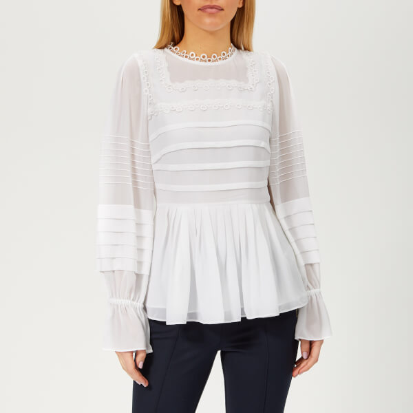8cd80b8634a39 Ted Baker Women s Roobee Pintuck Detailing Long Sleeve Top - White  Image 1