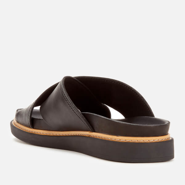 7abb1f88ecd1 Clarks Women s Trace Drift Leather Cross Front Sandals - Black  Image 2