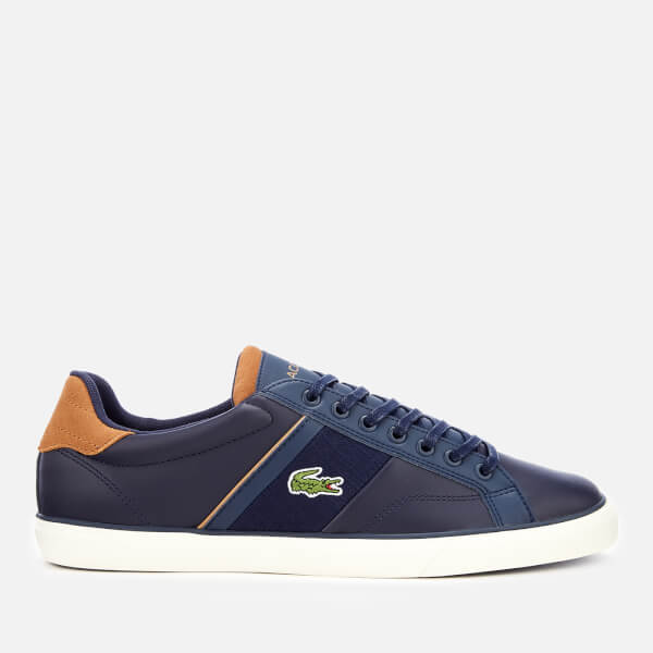 Lacoste Men's Fairlead 119 1 Leather Vulcanised Trainers - Navy/Light Brown