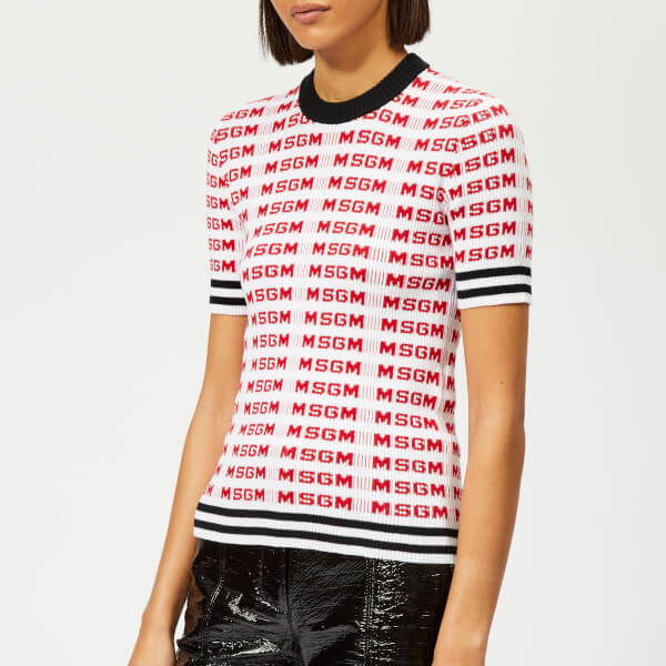 MSGM Women's Logo Sleeve Jumper - White
