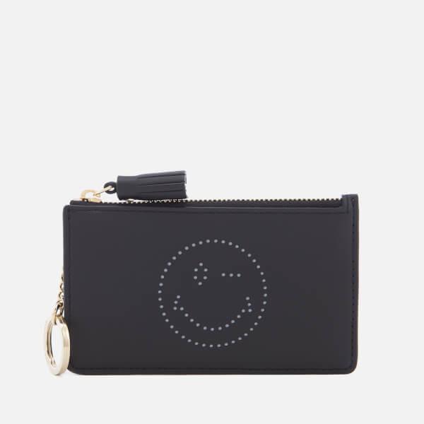 Anya Hindmarch Women's Wink Face Zipped Card Key Case - Black