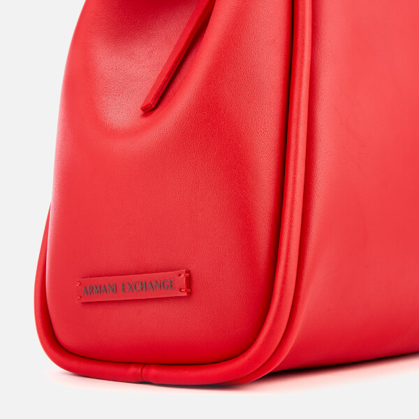 08f22bca6d90 Armani Exchange Women s Medium Shopper Tote Bag with Logo Flap - Red  Image  4