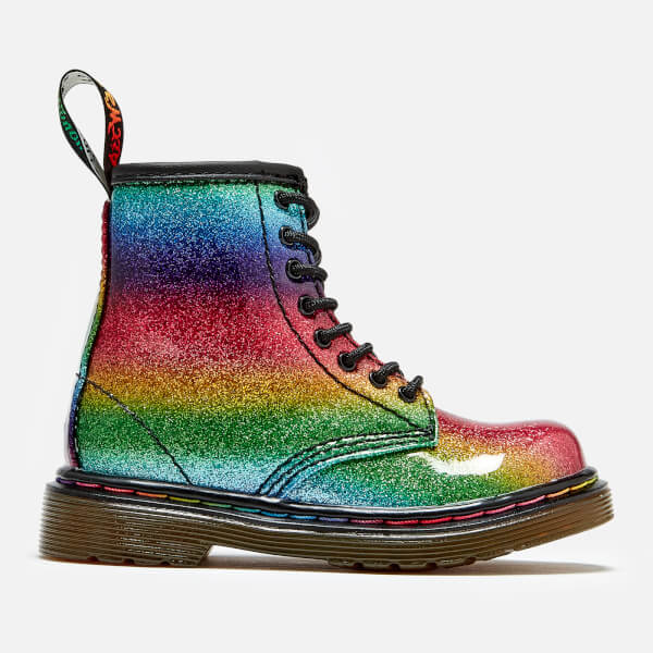 Dr. Martens Toddler's 1460 Ombre Glitter Patent 8-Eye Boots - Rainbow
